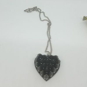 GASOLINE GLAMOUR Jewelry - Gun metal spike heart necklace small new